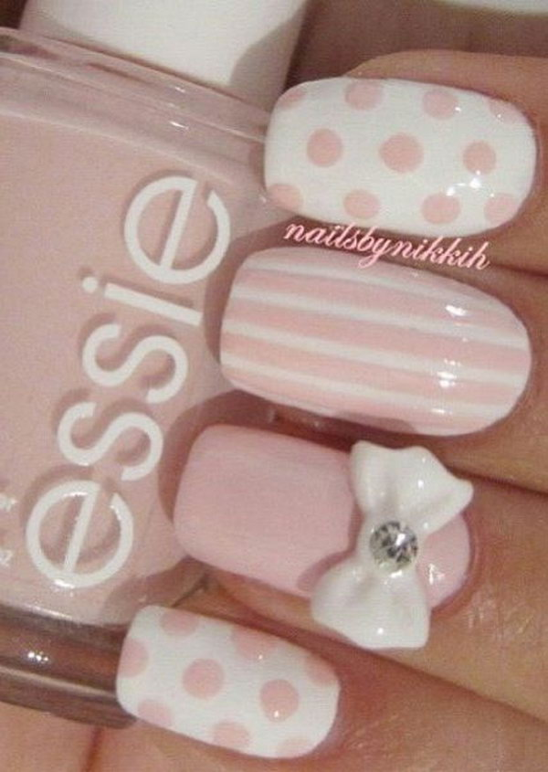 Pink and white acrylic nails round