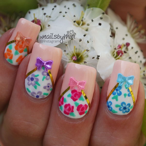 Spring Flower Nails with Bows.