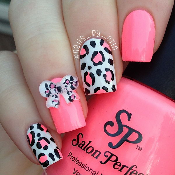45 wonderful bow nail art designs hative pink leopard and 3d bow nails prinsesfo Gallery