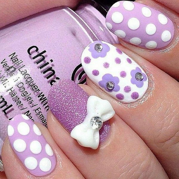45 wonderful bow nail art designs hative purple glitter nail with polka dots and bow prinsesfo Images