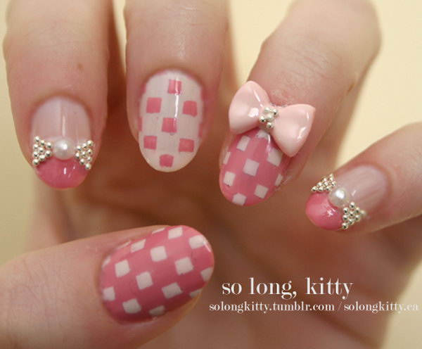 Pastel Checkered Bowtie Nails.