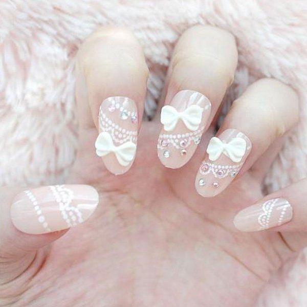 White Bow Nails.