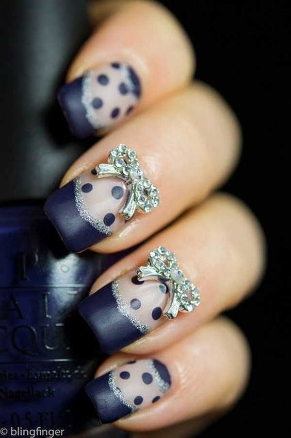 Blue French and Polka Dot Nails with Bows.