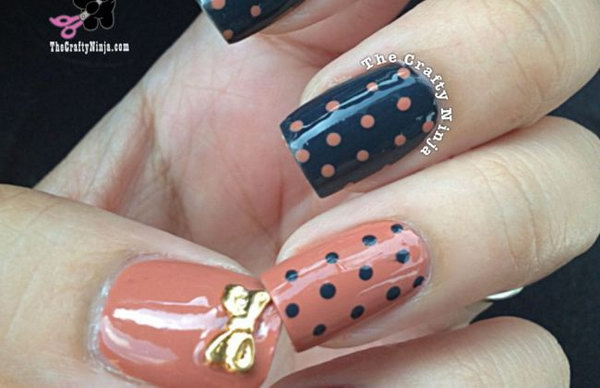Dotticure Polka Dot Nails with Gold Bow. See more details