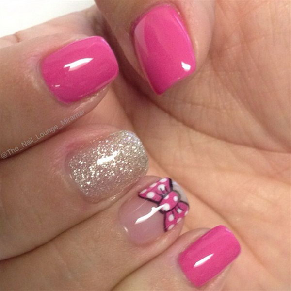 Minnie Mouse Nails: 45 Wonderful Bow Nail Art Designs