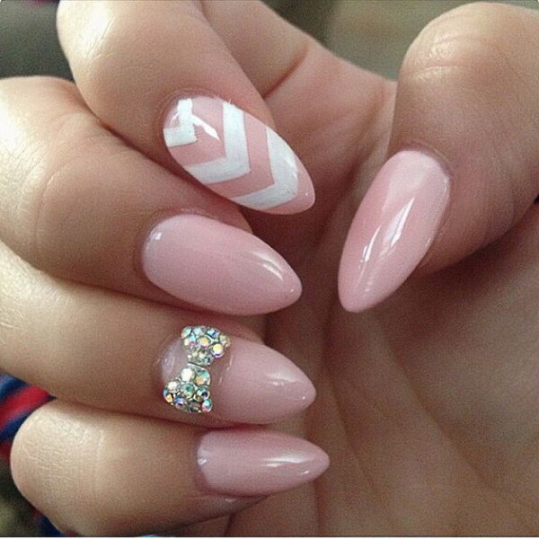 45 wonderful bow nail art designs hative baby pink nails with a bow prinsesfo Choice Image