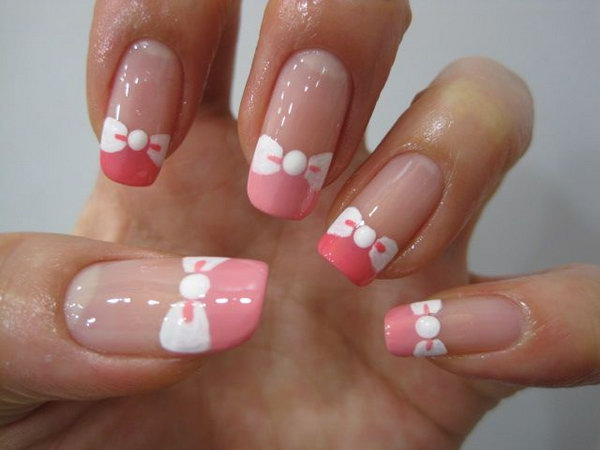 45 wonderful bow nail art designs hative pink tips and white bow tie nails prinsesfo Images