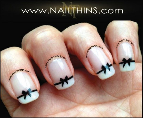 45 wonderful bow nail art designs hative black bow nail decal bow nail art prinsesfo Images
