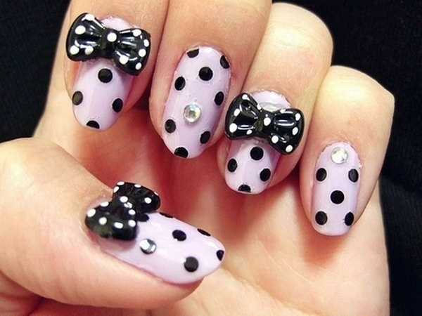 45 wonderful bow nail art designs hative dotted nail art with black bows prinsesfo Images