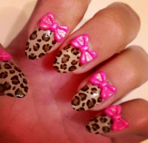 45 wonderful bow nail art designs hative animal print nail design with pink bows prinsesfo Image collections