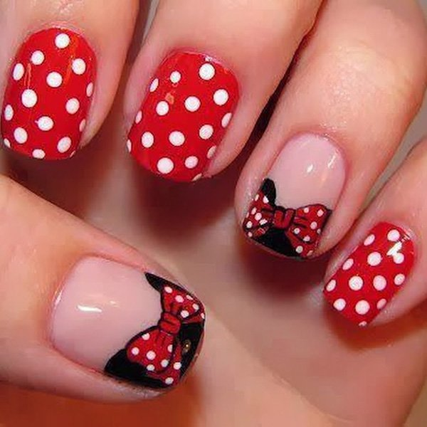 French Nail Art with Polka Dots and Bows - 45 Wonderful Bow Nail Art Designs - Hative