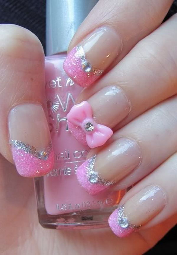 Pretty Pink Nail Design with Glitter, Rhinestones and a Pretty Pink Bow.