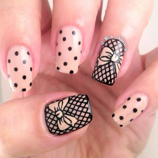 Nude Nail with Black Grid and Bow.