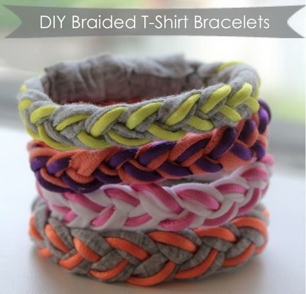 DIY Braided T Shirt Bracelets. See the tutorial