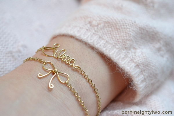 Name and Bow Wire Bracelet.  See the tutorial
