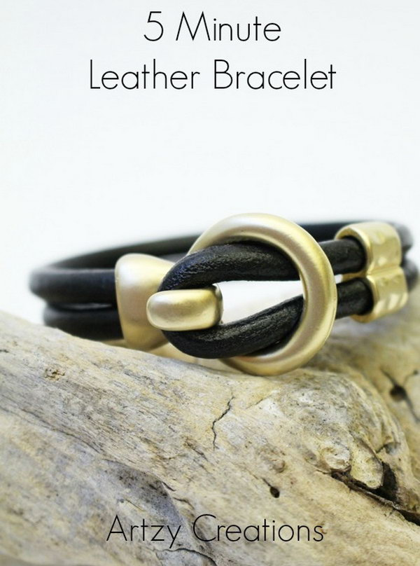 Five Minute Leather Bracelet. See the tutorial