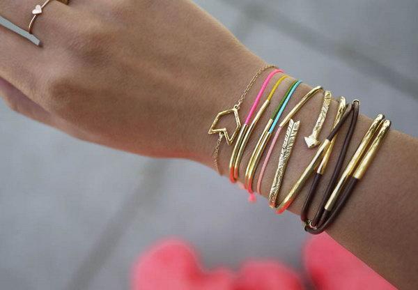 DIY Gold Tube Bracelets. See the tutorial