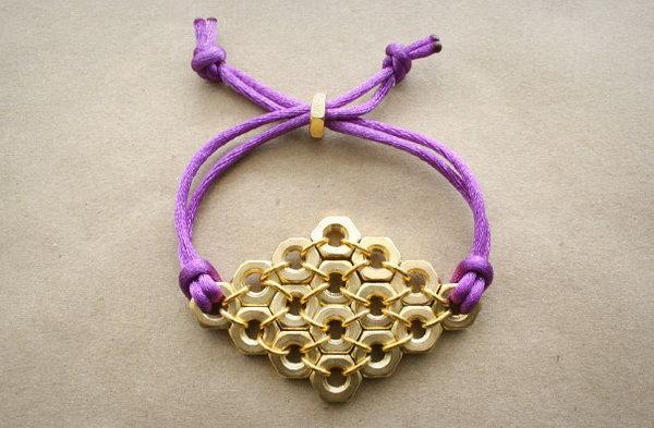 Hex Nut Diamond Bracelet.  See the tutorial