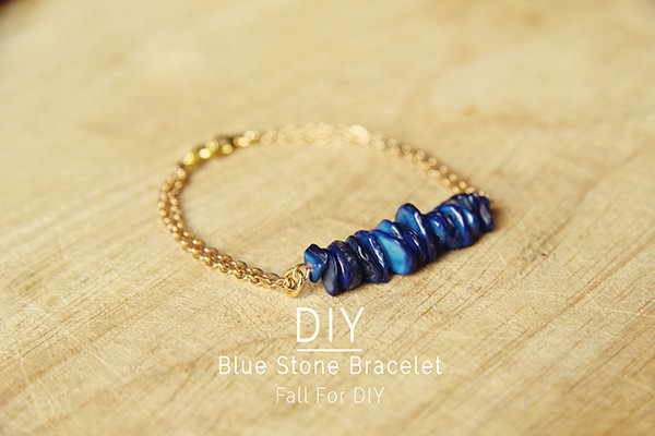 DIY Blue Stone Bracelet. See the tutorial