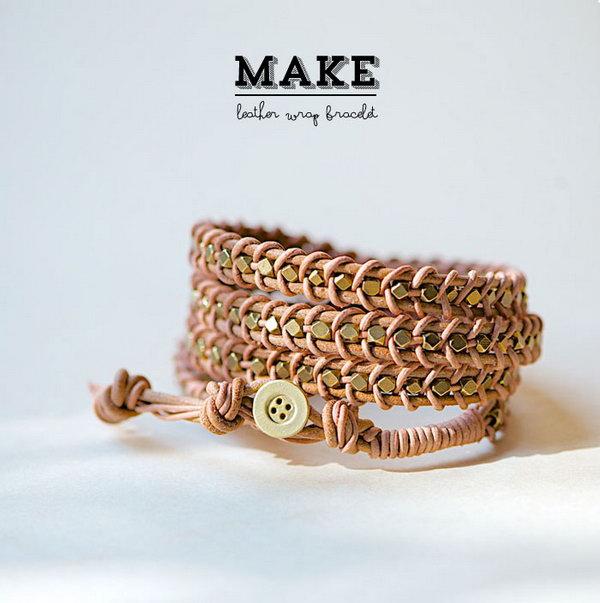 DIY Leather Wrap Bracelet. See the tutorial