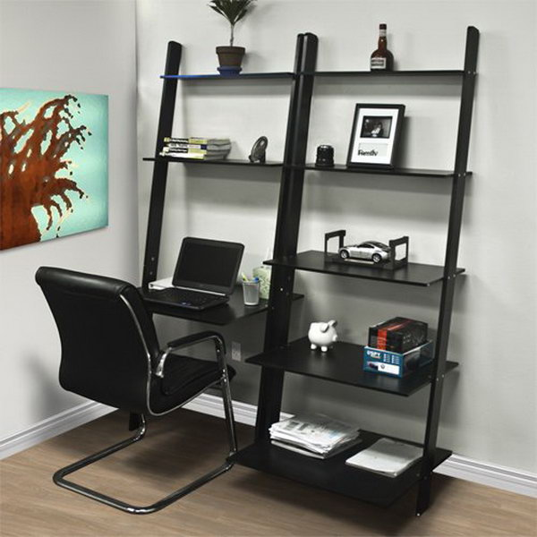 Leaning Ladder Computer Desk With Bookcase