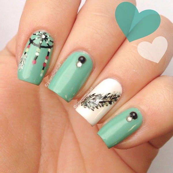 Lots of dream catcher nail designs and ideas. How beautiful and unique with  such good - 35+ Cool Dream Catcher Nail Designs For Native American Fashion - Hative