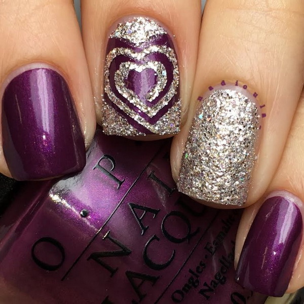 Awesome Purple Nails with Glitter Accent.