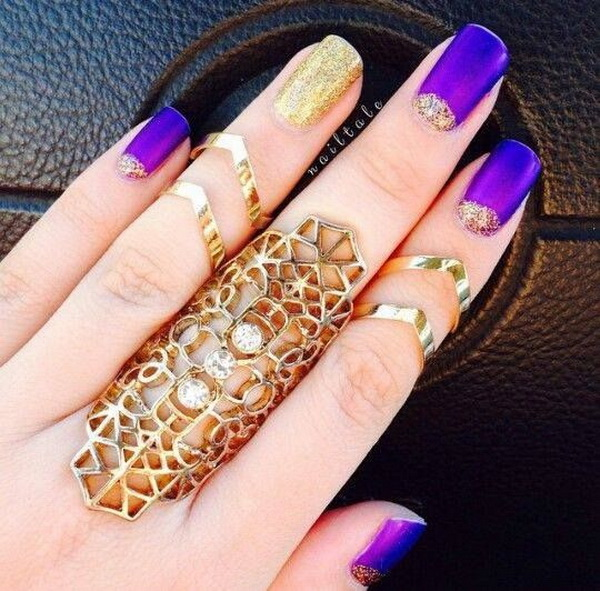 Purple and  Glitter Gold Nails.