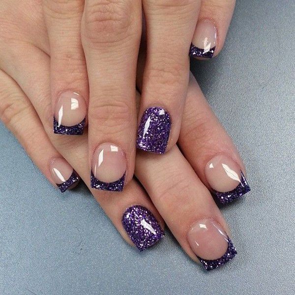Pretty Looking French Tips in Violet Glitter.