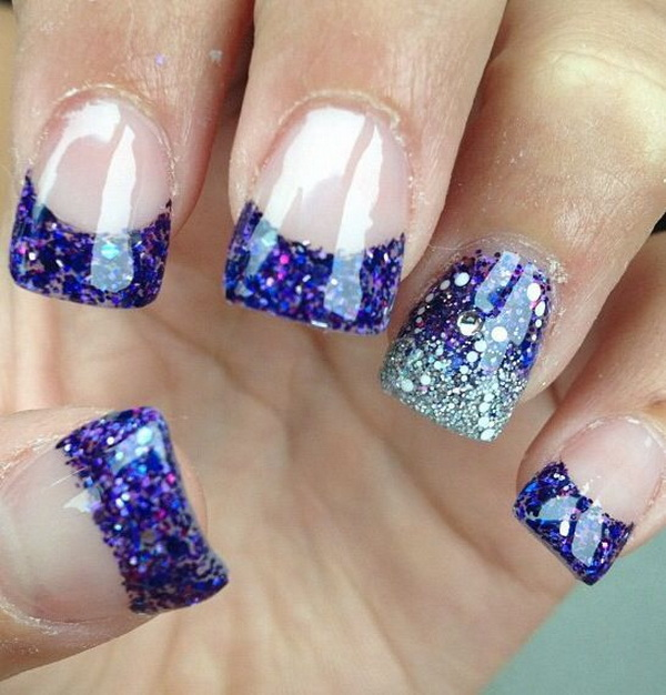 30 trendy purple nail art designs you have to see hative purple solar nails with a silver and purple ring finger design prinsesfo Choice Image