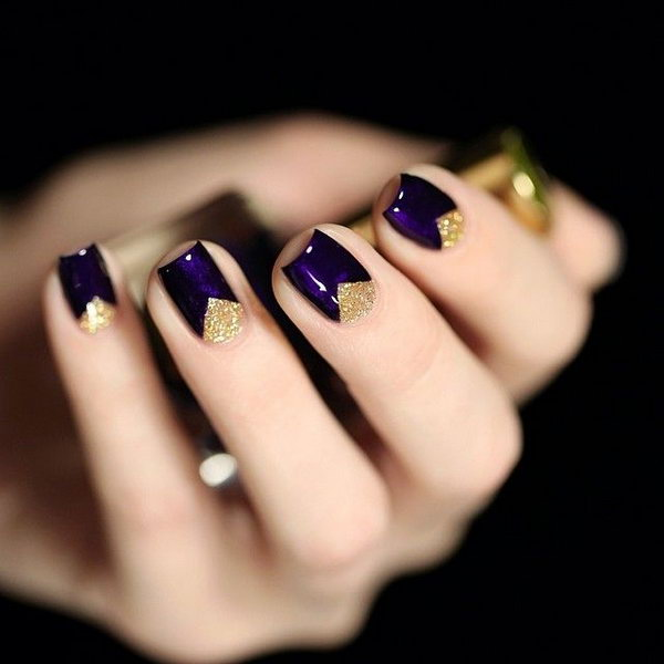 Dark Purple Nails with Gold Triangles - 30+ Trendy Purple Nail Art Designs You Have To See - Hative