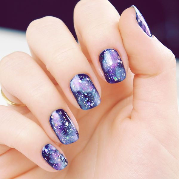 Purple Galaxy  Nail Art .