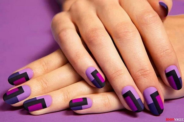 30 trendy purple nail art designs you have to see hative glamorous color blocks nail art prinsesfo Image collections