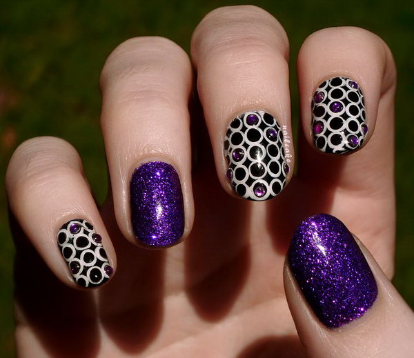 Circles and Rhinestones with Nubar Violet Sparkle Nail Art.