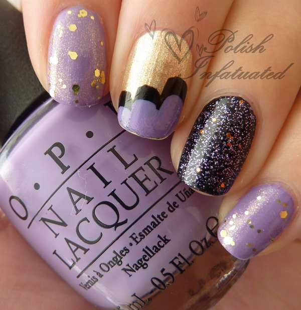 Purple, Glitter and Cloud nails.