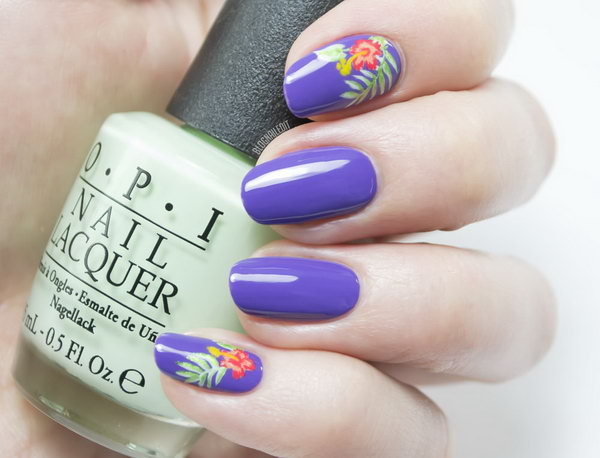Tropical Nails Floral Nail Design.