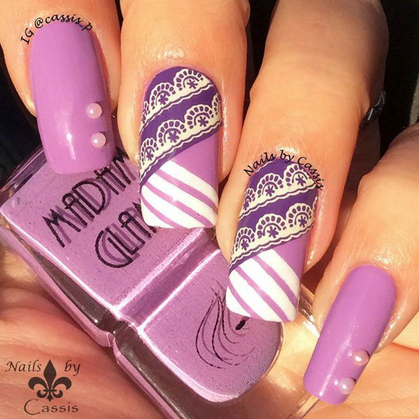 Purple Stripe Lace Nail Art - 30+ Trendy Purple Nail Art Designs You Have To See - Hative