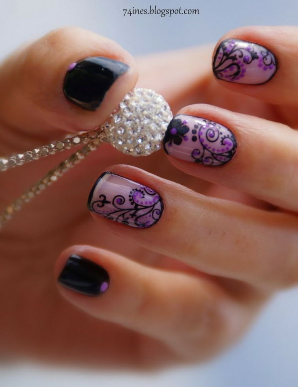 Black And Purple Flower Nail Art