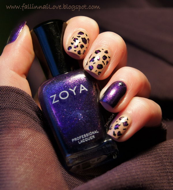 Purple Leopard Nail Art.