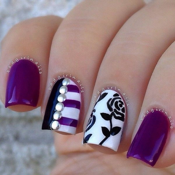 Eye catching Floral with an Edge Purple Nails. - 30+ Trendy Purple Nail Art Designs You Have To See - Hative
