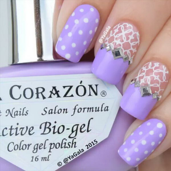 30 trendy purple nail art designs you have to see hative feminine lace and dots purple nail art prinsesfo Choice Image