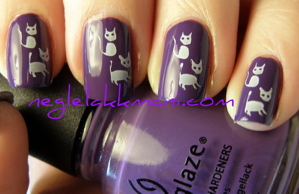 Cute Grape Background with Kittens Nail Art.