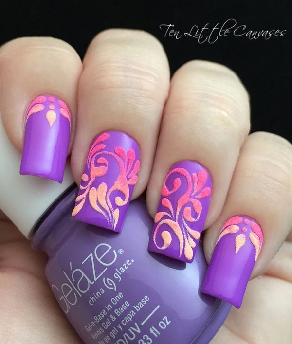 Neon Flourish Nail Design - 30+ Trendy Purple Nail Art Designs You Have To See - Hative