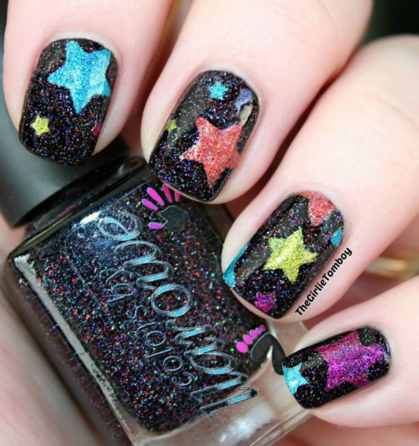 Spring Color Star Nails with Glitter - 50+ Cool Star Nail Art Designs With Lots Of Tutorials And Ideas - Hative