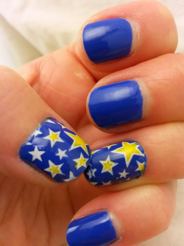 Blue Nails with Stars. This is all sorts of perfect! I love it, so clever! :)
