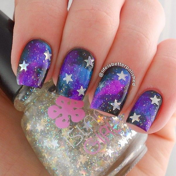 Galaxy Purple Star Nails - 50+ Cool Star Nail Art Designs With Lots Of Tutorials And Ideas - Hative