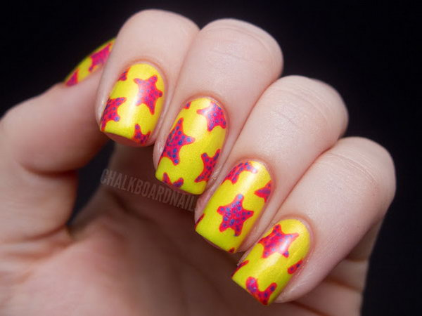 Glaze Summer Neons Star Nail Art. This is all sorts of perfect! I love it, so clever! :)