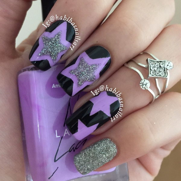 Black and Purple Star Nail - 50+ Cool Star Nail Art Designs With Lots Of Tutorials And Ideas