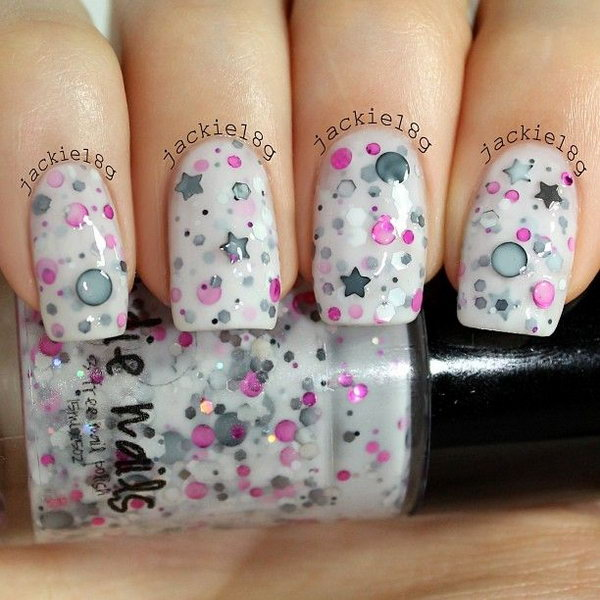Star and Dots Nail Design. This is all sorts of perfect! I love it, so clever! :)