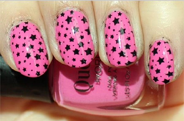 Pink Nail with Black Stars. This is all sorts of perfect! I love it, so clever! :)